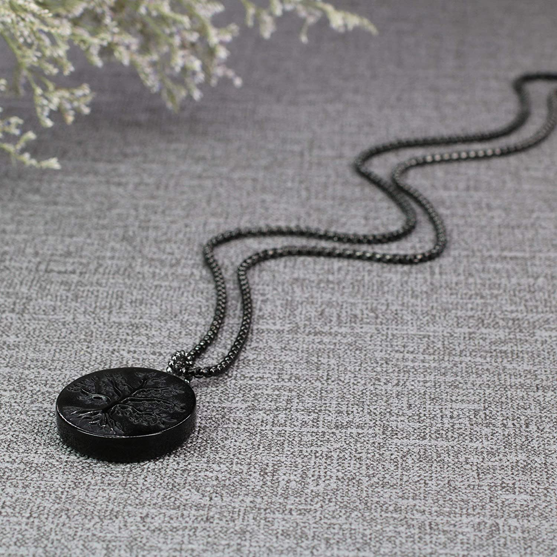 coai Collier Cha/îne Pendentif Rond Arbre de Vie Obsidienne