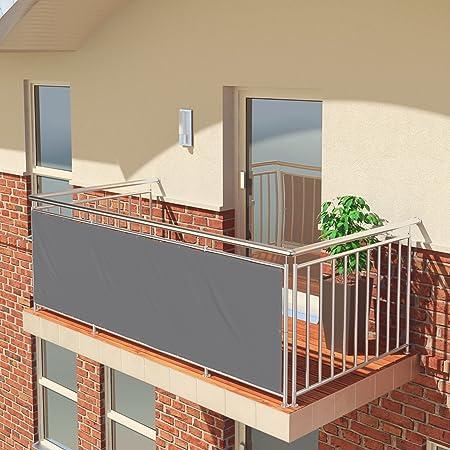 Imagen dePantalla de balcón premium de Balconio, x cm, impermeable, pantalla para balcón para tener privacidad, con cierre de cuerda incluido, poliéster, Gris, 400 x 85 cm