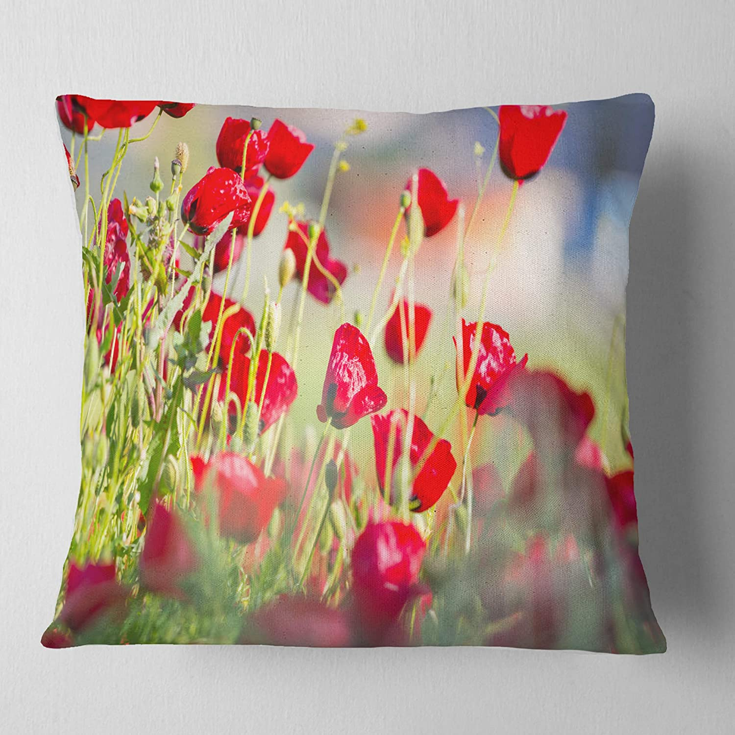 Insert Printed On Both Side in x 26 in Sofa Throw Pillow 26 in Designart CU12620-26-26 Beautiful Red Poppy Flowers View Floral Cushion Cover for Living Room