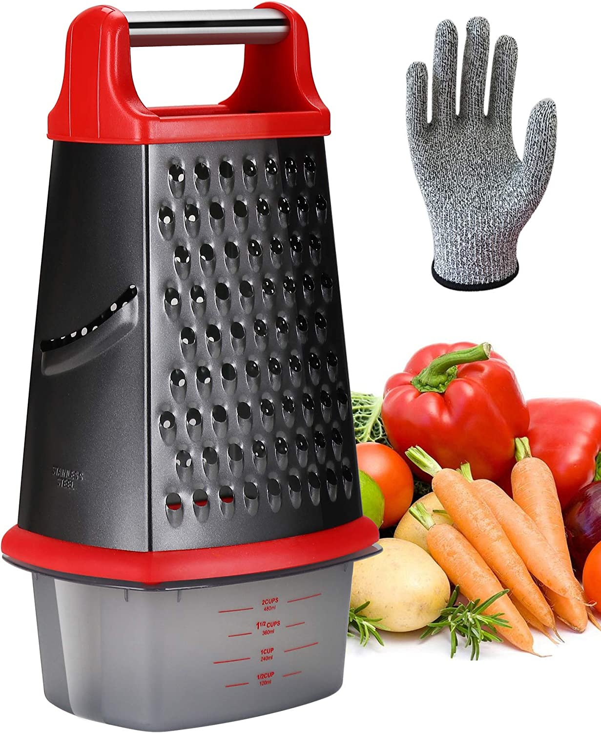 Ourokhome Stainless Steel Box Grater - 4 Side 10 inch Cheese Grater with a Container Box and Resistant Glove (Red and Black)