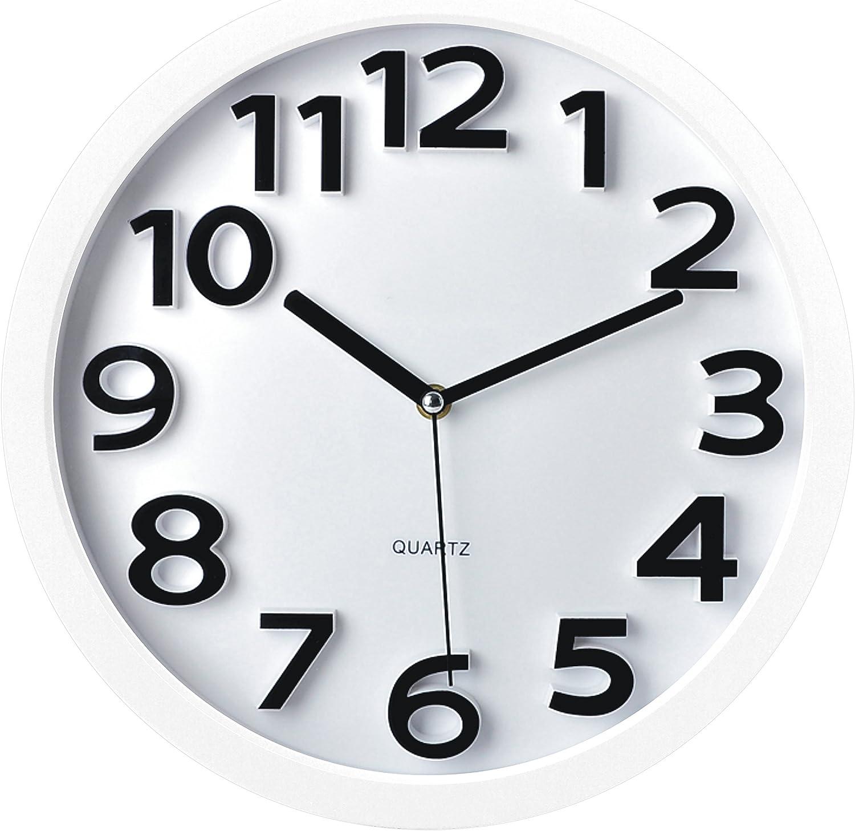 Round White Decorative Clock With Black Roman Numerals 13 x 13 inches Quartz movement