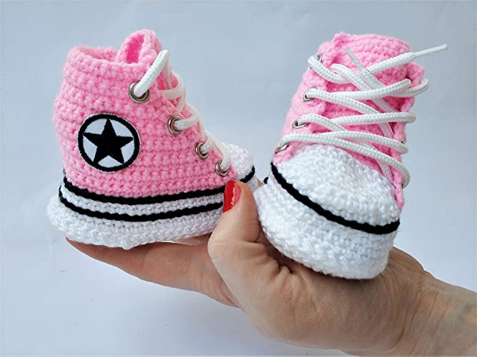 5150a9faa46f7 Amazon.com: First Star Infant Girl High Top Pink Crochet Soft Slippers  Sneakers Baby Shower Newborn Shoes Gift: Handmade