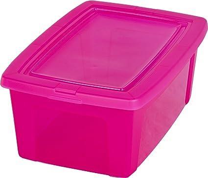 Caja de almacenamiento, caja de almacenaje, caja plastico Rosa, caja con tapa,