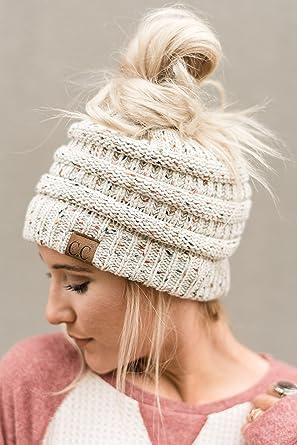60446433fdbc33 Three Bird Nest Messy Bun Beanie Hat - Ponytail Knitted Hat In Confetti  Ivory