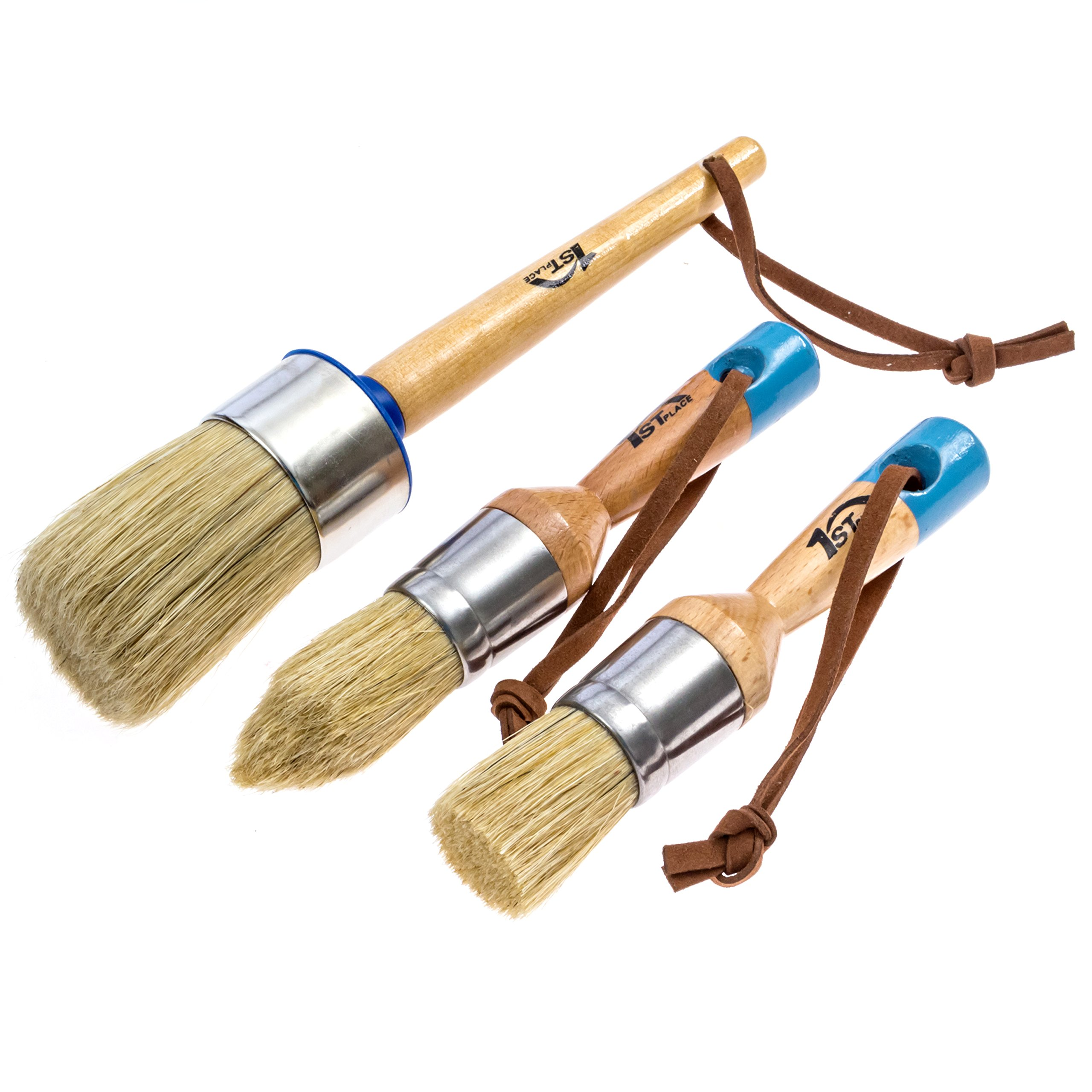 1st Place Professional Chalk Paint & Wax Pure Bristle Brush Set - Hand Made - Annie Sloan Quality (3 Brushes)