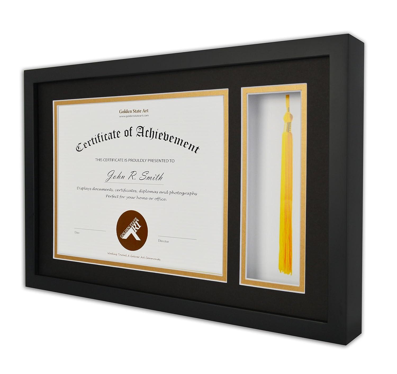 Golden State Art, Diplom Quaste Shadow Box 11 x 17,5 Rahmen für 8,5 ...