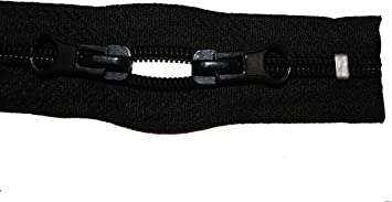 Reißverschluss für Rucksäcke schwarz 215 cm lang 5mm Spirale 2 Schieber Zelte