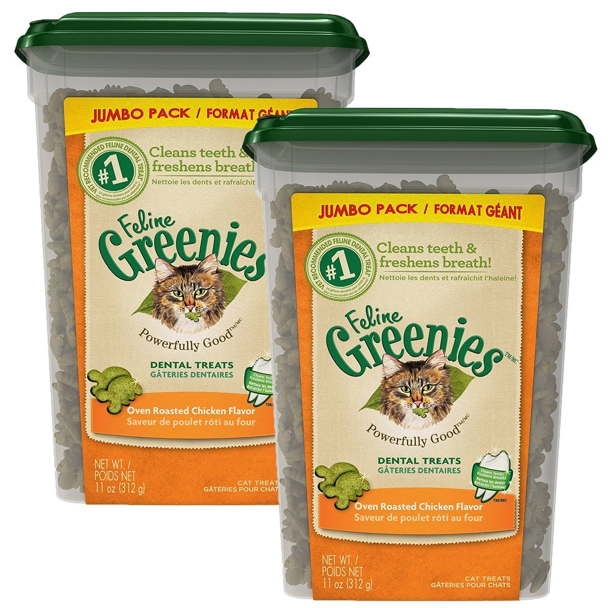 FELINE GREENIES Dental Cat Treats (Chicken, 22 oz.) by Greenies