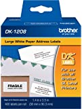 Brother DK-1208 Large Address Paper Label Roll (1.4x3.5, 400-Count) - Retail Packaging