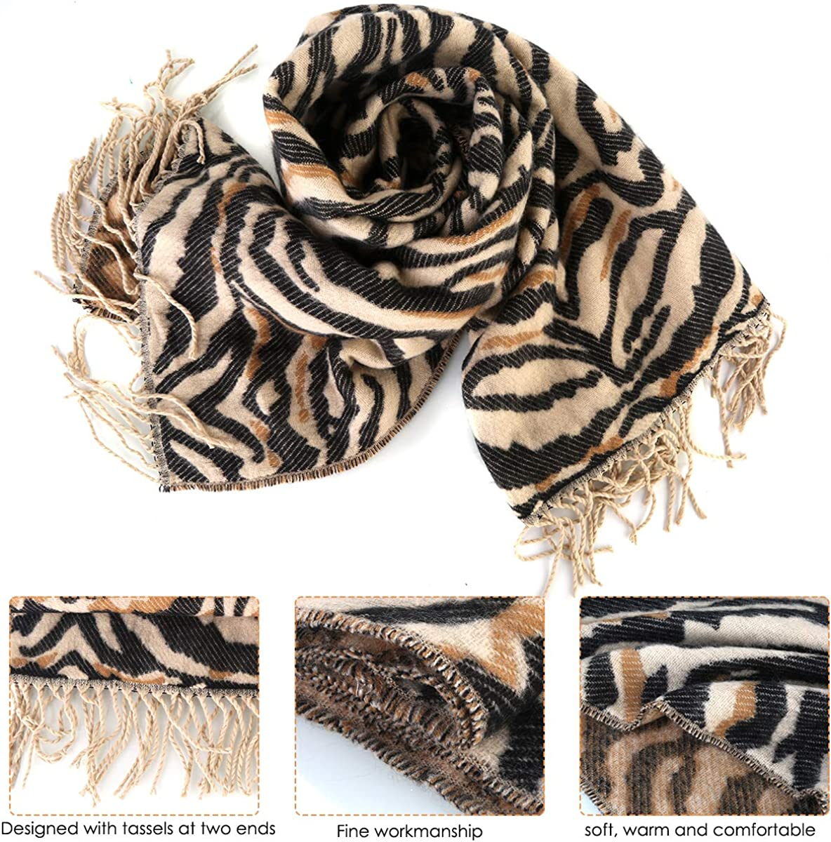 Sciarpa invernale leopardo con nappe per le donne caldo inverno collo avvolge scialli pashmina