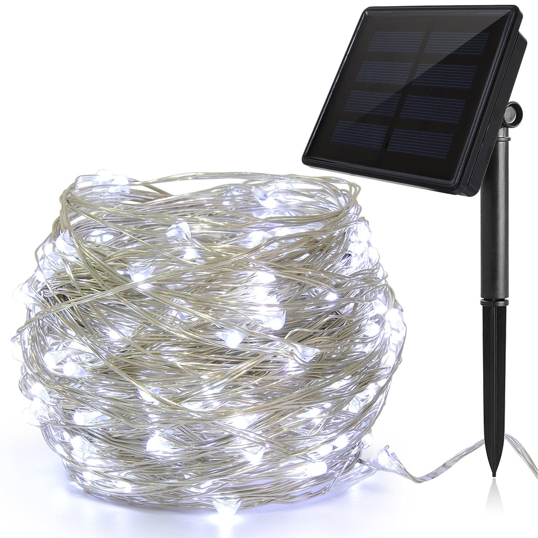Ankway Catena Luminosa Solare 100 LED 4 Pacchi (Filo di Rame 3 Fili, 8 Modi), 12M Luci Stringa Solare, Luci Energia Solare, Luci Decorative Energia Solare per Natale Albero Nozze Festa-bianco caldo