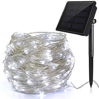 Luces LED Navidad Solar (200 LED, Hilo de Cobre de 3 Hilos, 22M