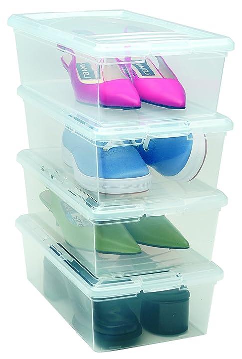 IRIS 6 Quart Modular Storage Box, 18 Pack, Clear