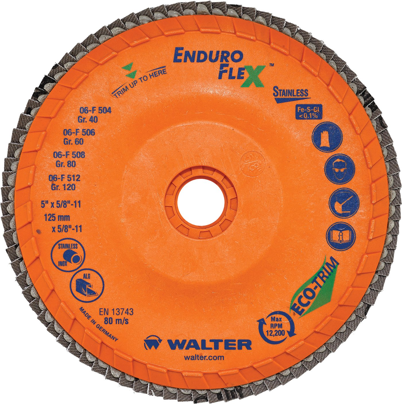 Walter Surface Technologies 15Q458 Enduro-Flex Stainless Abrasive Flap Disc Type 29 Pack of 10 7//8 Arbor Zirconia Alumina 7//8 Arbor Trimmable Wood Fiber Backing 80 Grit