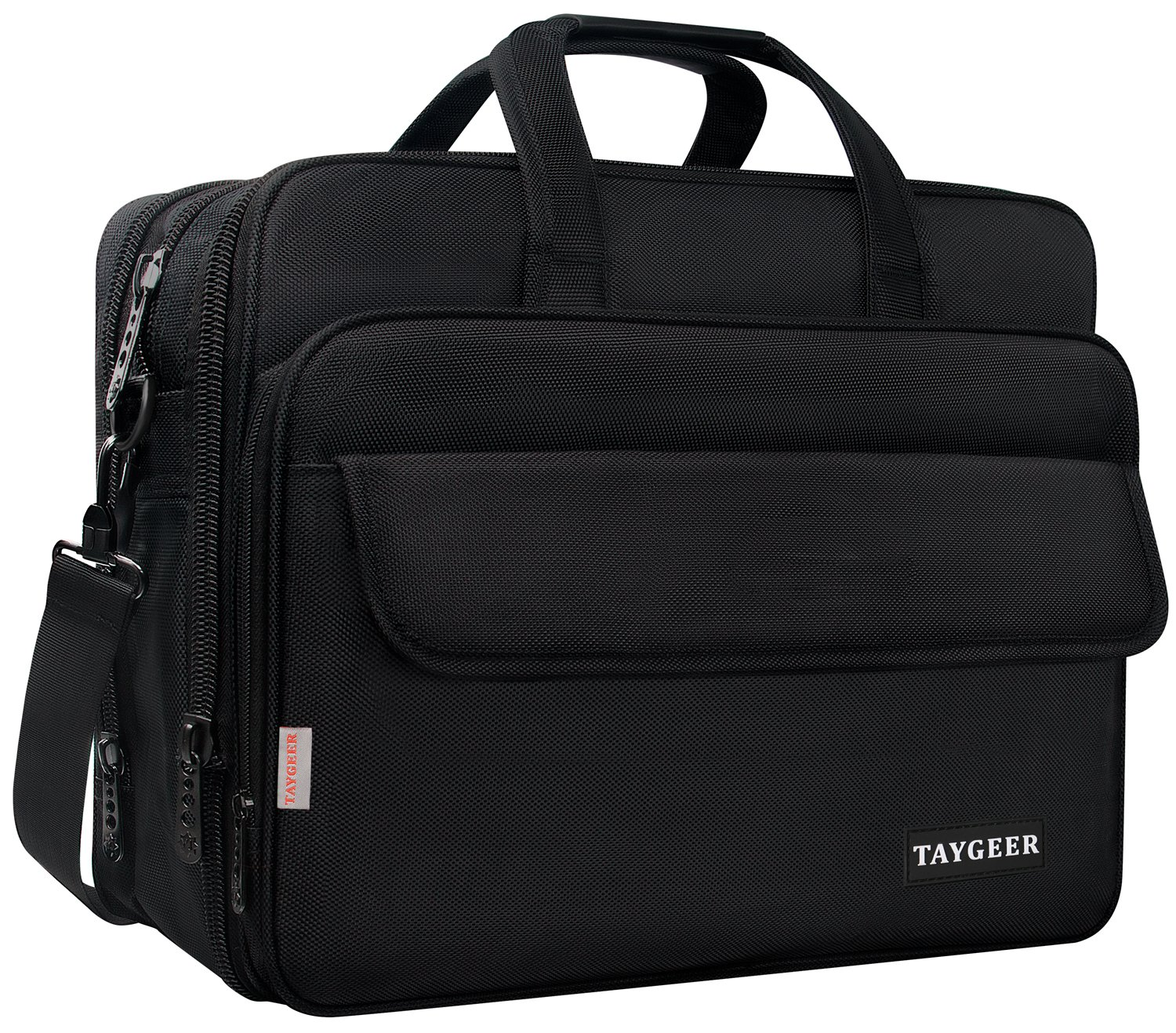 Taygeer 17.3 Inch Laptop Bag, Expandable Multi-functional Business Briefcase for Men Women, Water Resitant Shoulder Computer Messenger Bag,Carry On Handle Travel Case for 17'' Asus Acer Dell HP, Black