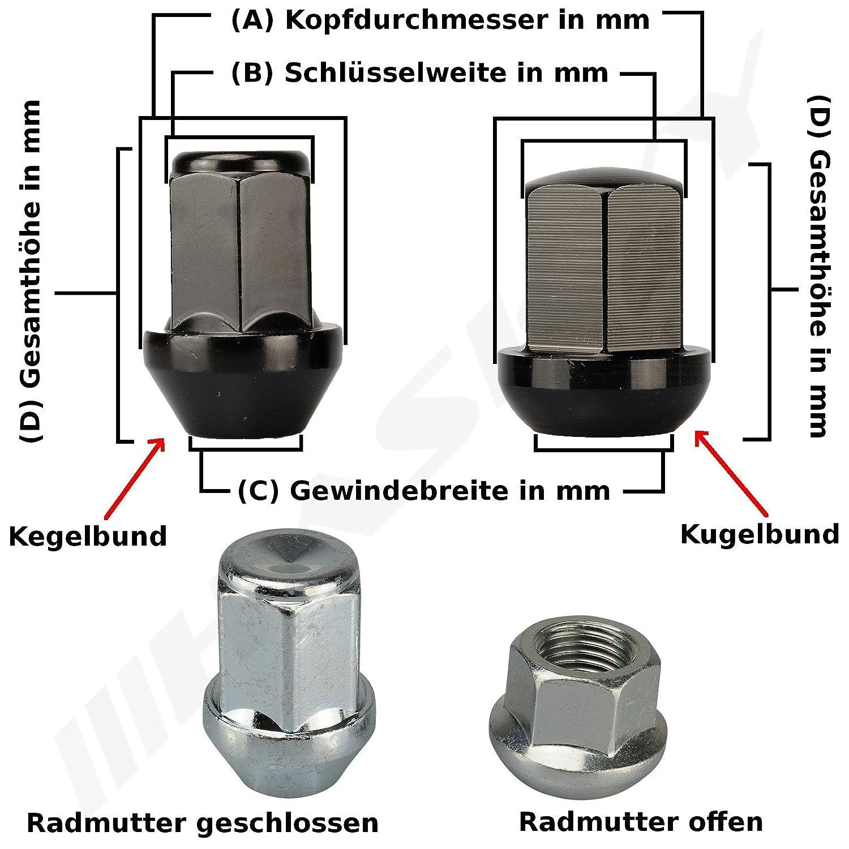 20 ZINK Radmutter Mutter 1//2 UNF x 34 SW19 Kegelbund Kegel 60/° Alu Stahl Felgen