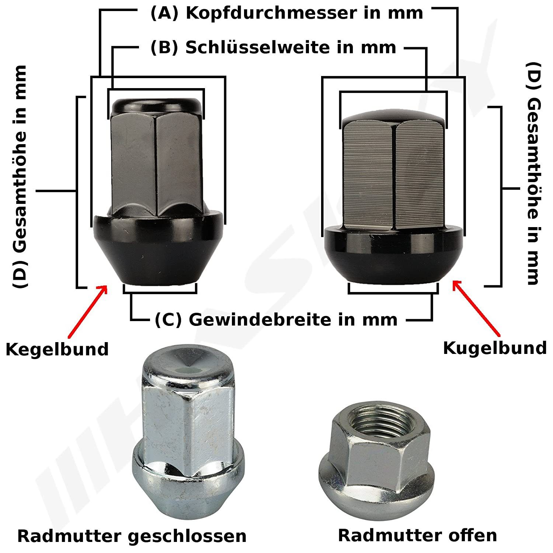 16 CHROM Radmutter Mutter M12x1,5x34 SW19 Kegelbund Kegel 60/° Alu Stahl Felgen
