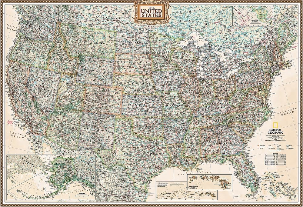 National Geographic's Executive United States of America (USA) Map Wall Mural -- Self-Adhesive Wallpaper in Various Sizes by Magic Murals
