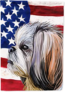 Caroline's Treasures CK6705GF Shih Tzu Dog American Flag Flag Garden Size, Small, Multicolor