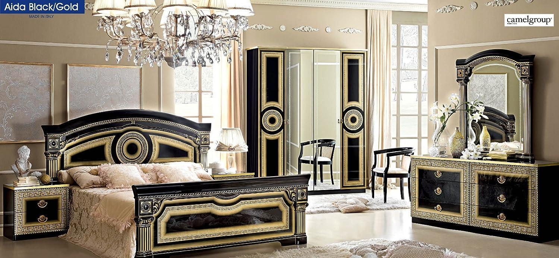 Amazon.com: ESF Furniture Aida Black Gold Lacquer Finish ...