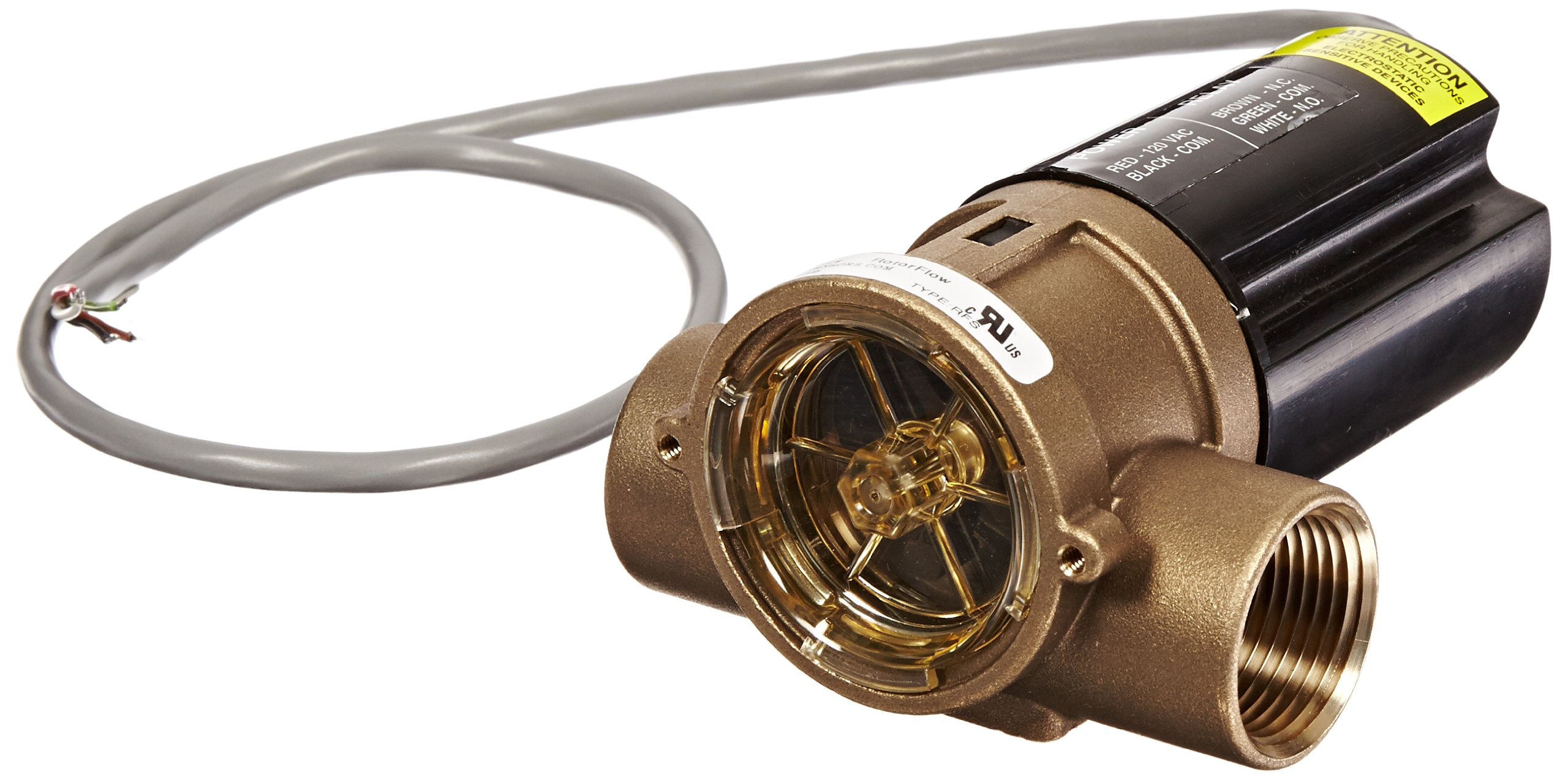 Gems Sensors RFS Series Brass Flow Sensor Switch, Inline, Rotor Type, 115 VAC Input, 8.0 - 60.0 gpm Flow Setting Adjustment Range, 1'' NPT Female
