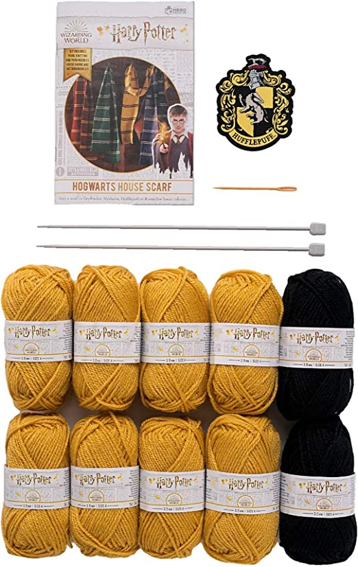 Hogwarts Hufflepuff Slouch Socks and Mittens Knitting Kit by Eaglemoss Hero Collector Harry Potter Wizarding World Knitting Kits Collection