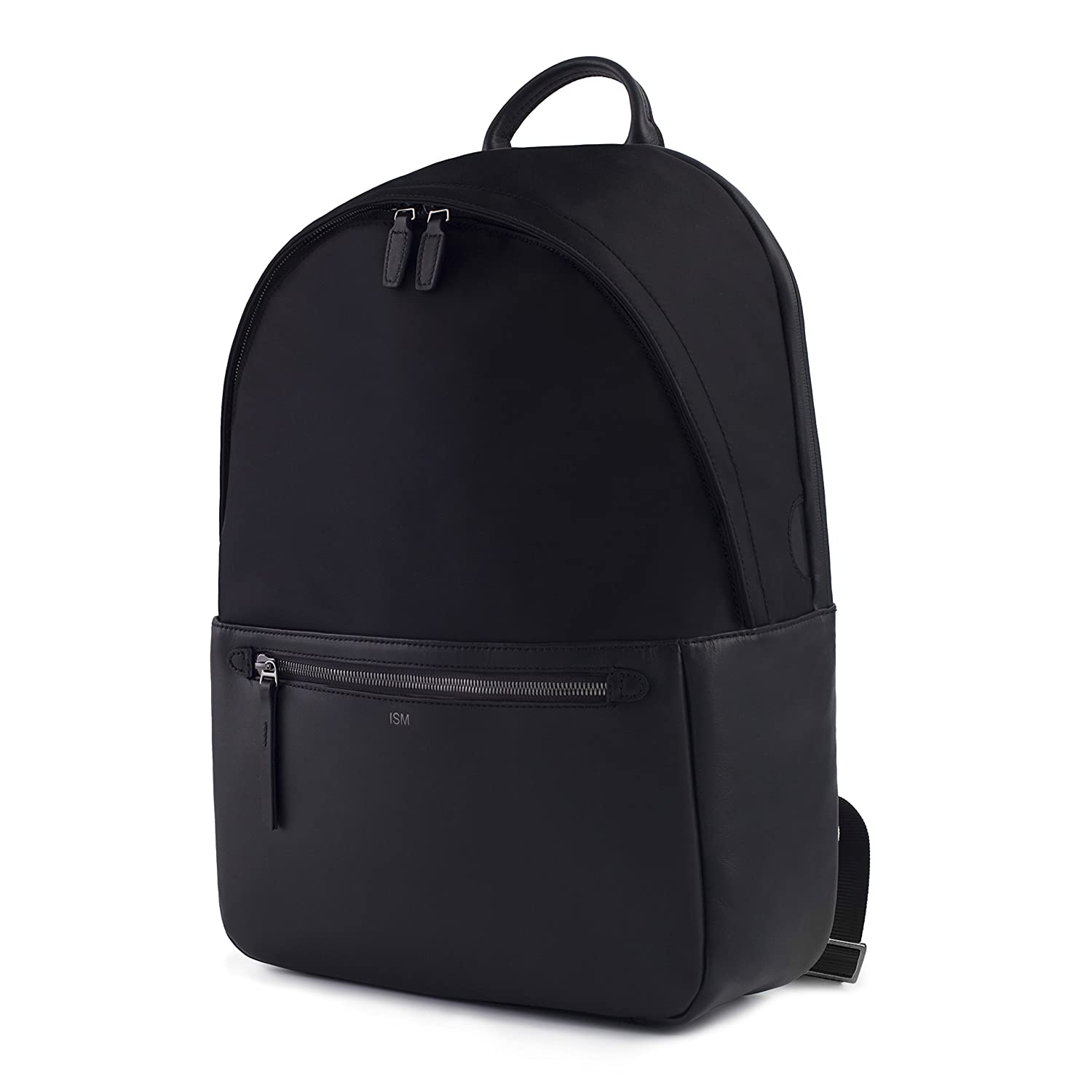ISM The Backpack Black Leather Laptop Backpack Work Backpack Black Leather Backpack 15inch Laptop Backpack