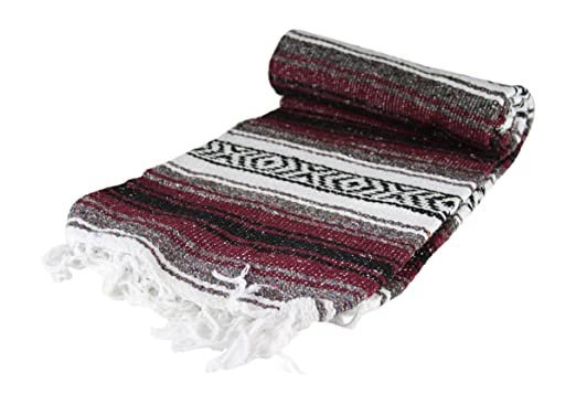 Authentic Mexican Falsa Blanket Yoga (Burgandy)