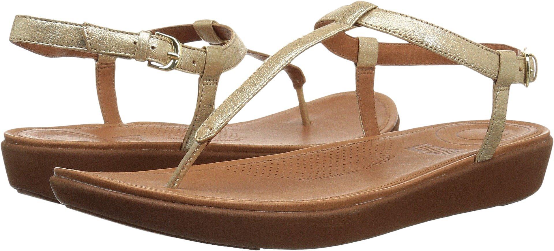 FitFlop Women's Tia Toe-Thong Flat Sandal, Pale Gold, 8 M US
