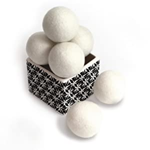 ZG- Home 10156 Wool Dryer Balls 6-Pack, XL Size Premium Reusable Natural Fabric Softener, Count