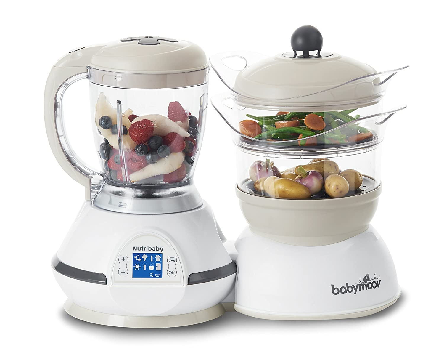 (was 9.99) Babymoov Nutribaby - 5 in 1 Baby Food Maker with Steam Cooker, Blend & Puree, Warmer, Defroster, Sterilizer (Cream)