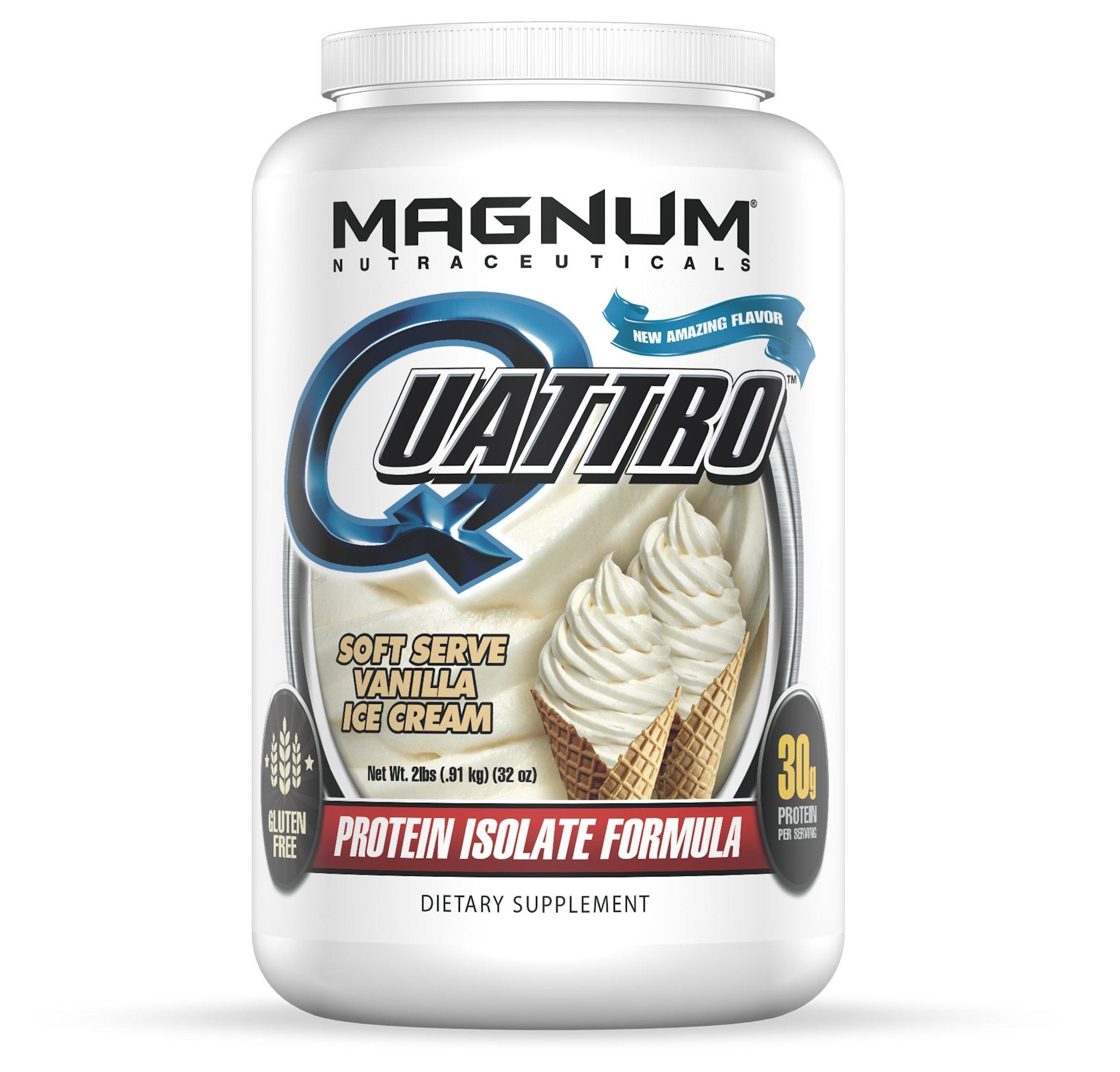 Magnum Nutraceuticals Quattro Protein Powder - 2lbs - Vanilla Ice Cream - Pharmaceutical Grade Protein Isolate - Lactose Free - Gluten Free - Peanut Free by Magnum