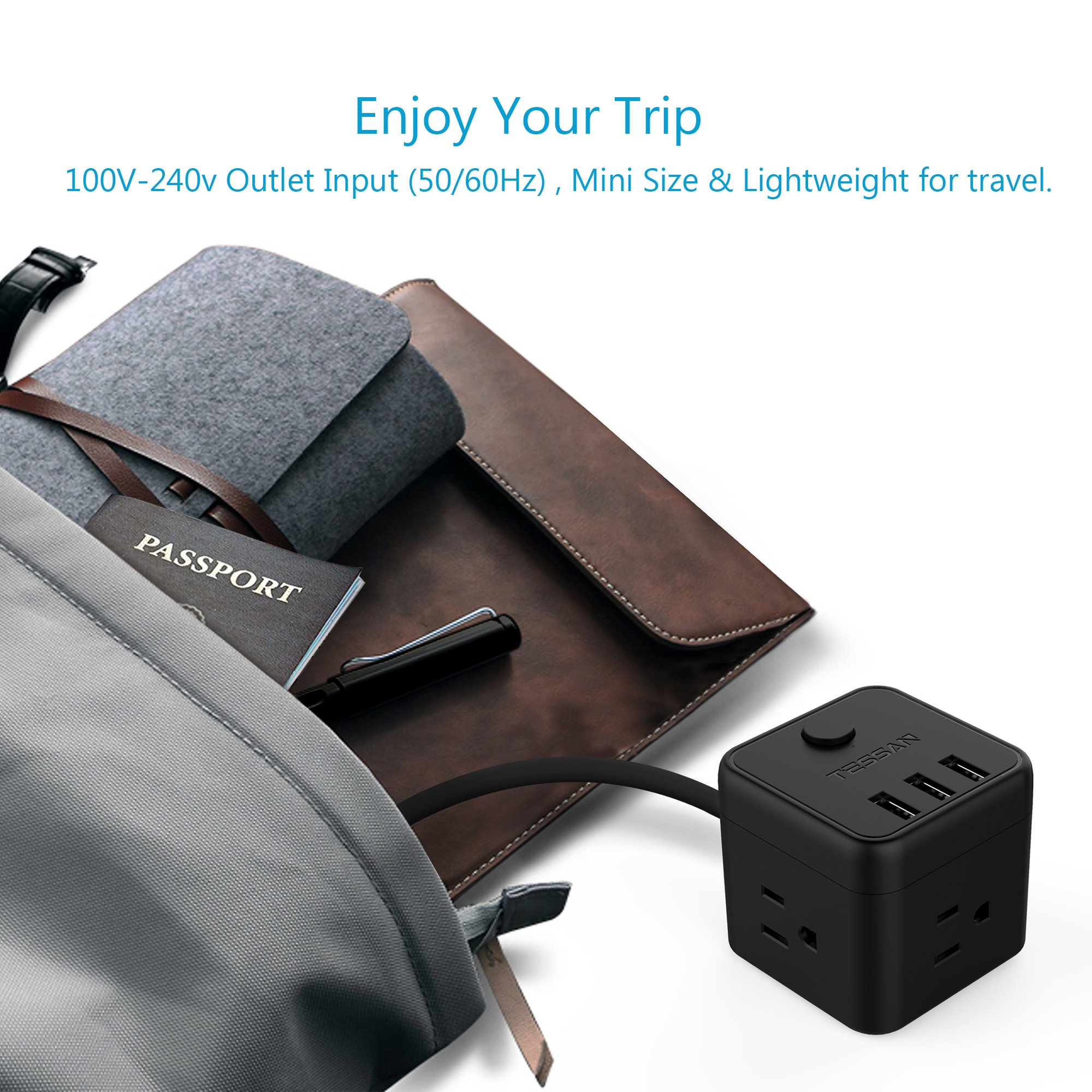 Portable Cube Power Strip with 3 USB Port & Switch Control, 3 Outlet Charging Station with 5 Ft Extension Cord for Nightstand & Desktop & Travel - Black by TESSAN (Image #7)