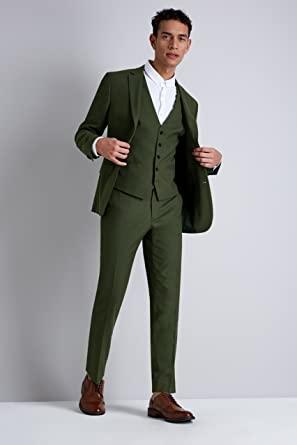 eb7bdb4f86acd6 Moss London Men's Skinny Fit Khaki 2 Piece Suit 44L: Amazon.co.uk ...