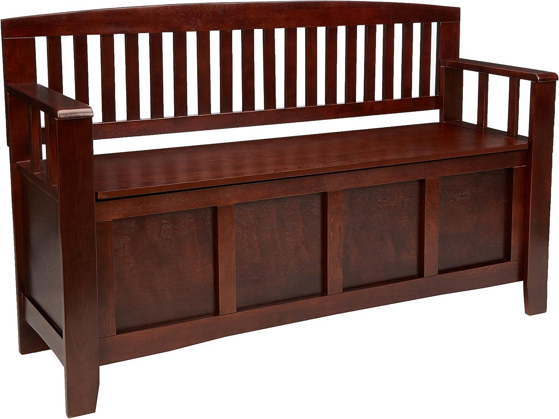 "Linon Home Dcor Linon Home Decor Cynthia Storage Bench, 50""w x 17.25""d x 32""h, Walnut: Kitchen & Dining"