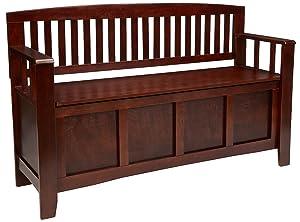 "Linon Home Dcor 83985WAL-01-KD-U Linon Home Decor Cynthia Storage Bench, 50"" w x 17.25"" d x 32"" h, Walnut"
