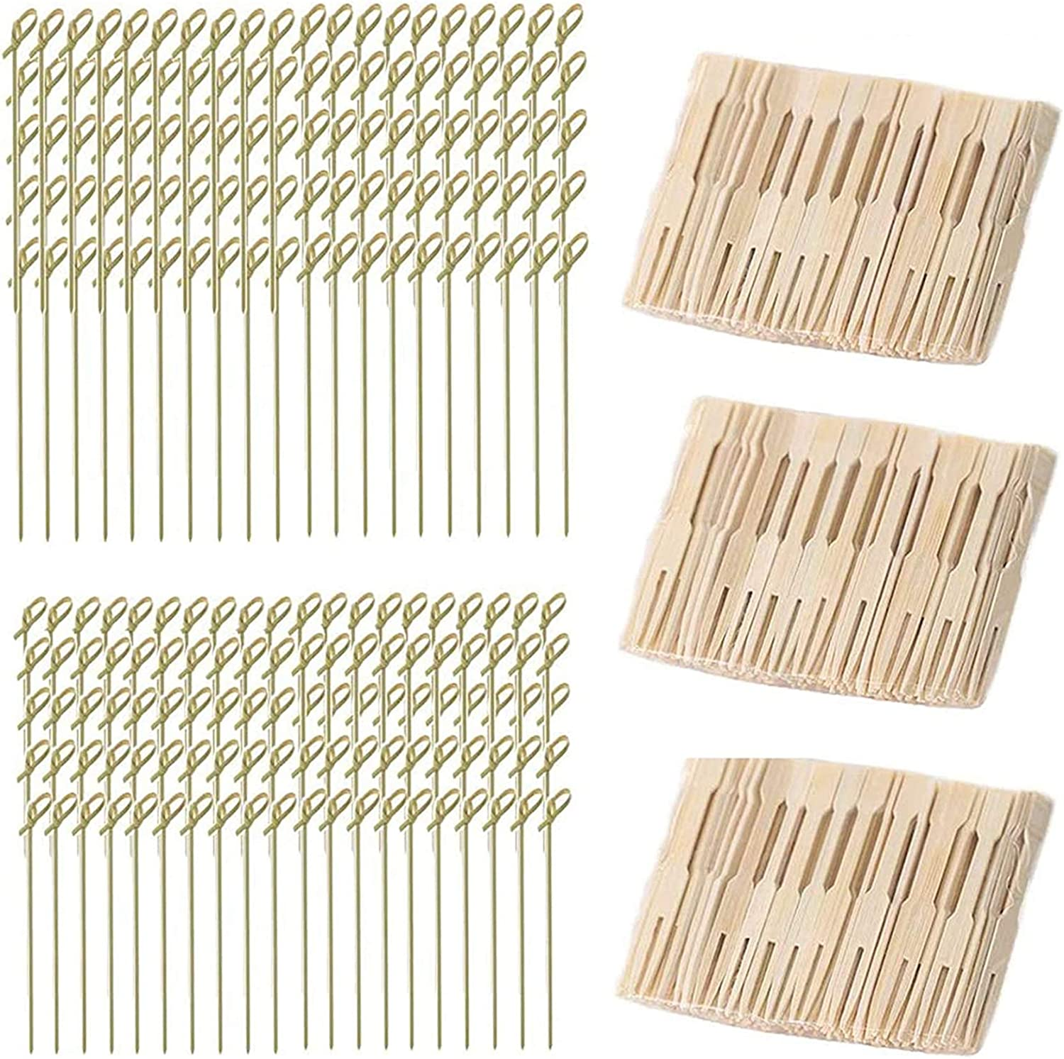 Bamboo Food Picks Cocktail Forks Set, 200 Pcs Appetizer Picks & 300 Pcs Cocktail Picks for Cheese Party Banquet Buffet & Catering | Natural Bamboo Party Food Skewers for Appetizer Cocktail Fruit