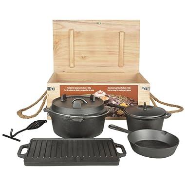 Esschert Design FF240 7 Piece Dutch Oven Cooking Set, Small to Medium, Black