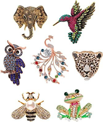 Insect Butterfly Owl Rhinestone Crystal Pearl Costume Brooch Pin Women Jewellery