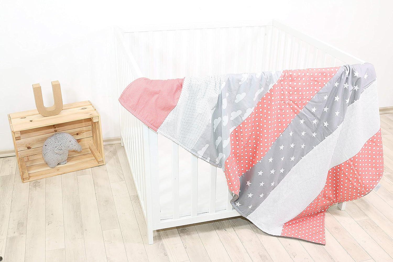 Colcha para bebé de ULLENBOOM ® con coral, nubes (manta de arrullo para bebé de 100 x 140 cm cm, ideal colcha para el cochecito; apta alfombra de juegos)