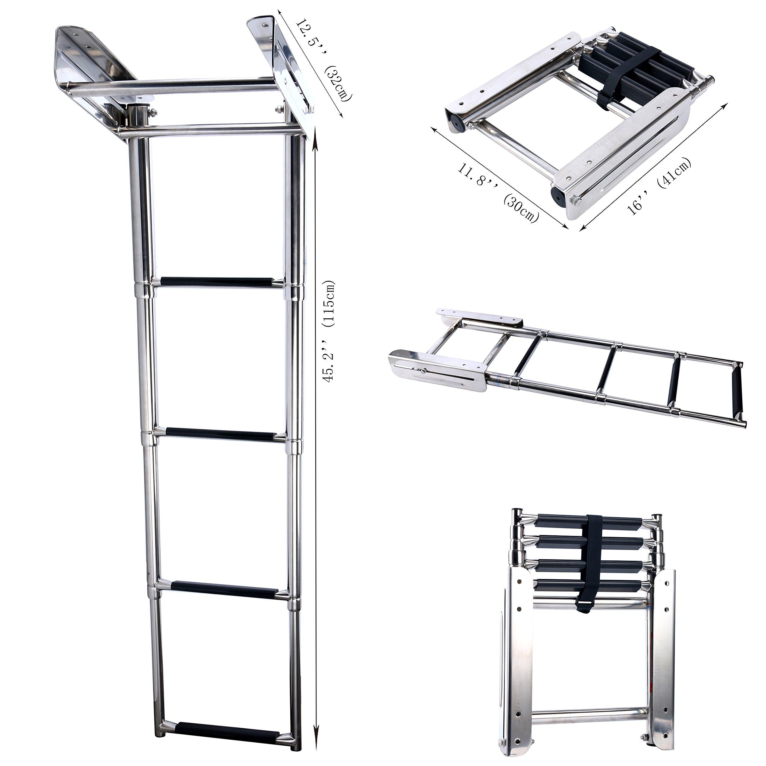 Amarine-made 4-step Stainless Steel Under Platform Slide Mount Boat Boarding Telescoping Ladder - FBA (A) by Amarine-made