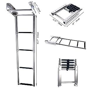 Amarine-made 4-Step Stainless Steel Under Platform Slide Mount Boat Boarding Telescoping Ladder - FBA