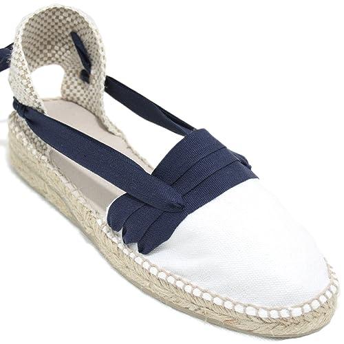 Espardenya.cat Alpargatas Hechas a Mano Tradicionales de Media Cuña Diseño Tres Vetas Color Azul Marino: Amazon.es: Zapatos y complementos