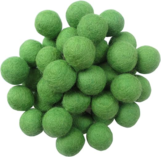 50pcs Round Wool Pompon Ball Beads DIY Jewellery Crafts Green 20mm