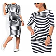 JINTING Plus Size Women Spring Autumn Striped Knee-Length Casual Loose Dress,Black,4X
