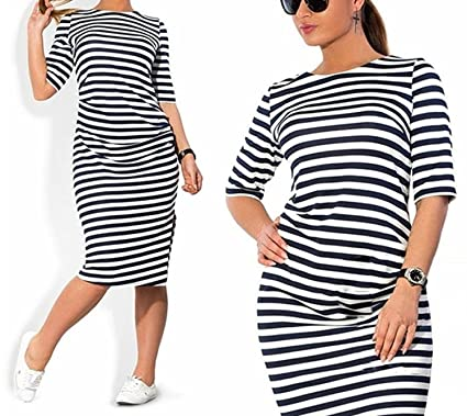 66db1c69879 Amazon.com  JINTING Plus Size Women Spring Autumn Striped Knee-Length Casual  Loose Dress  Clothing