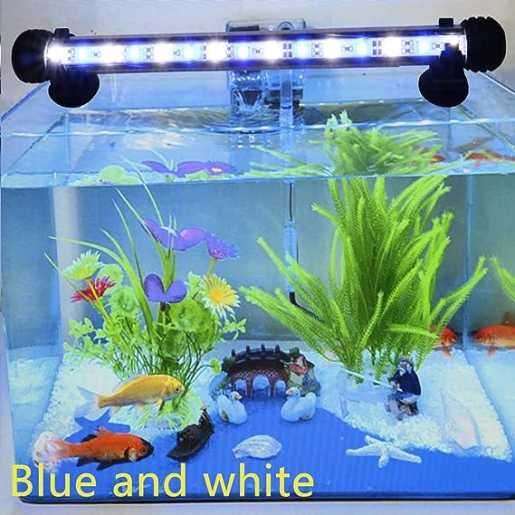 Lámpara LED para acuario, con ahorro de energía, sin emitir ruido y nueve leds 38 cm blanco y azul: Amazon.es: Hogar