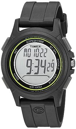 6391b0d90 Timex Men's TW4B12100 Expedition Baseline Digital CAT Black/Green Resin  Strap Watch