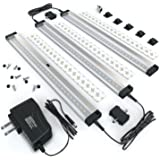 EShine 3 12 Inch Panels LED Dimmable Under Cabinet Lighting Kit, Hand Wave Activated - Touchless Dimming Control, Warm White