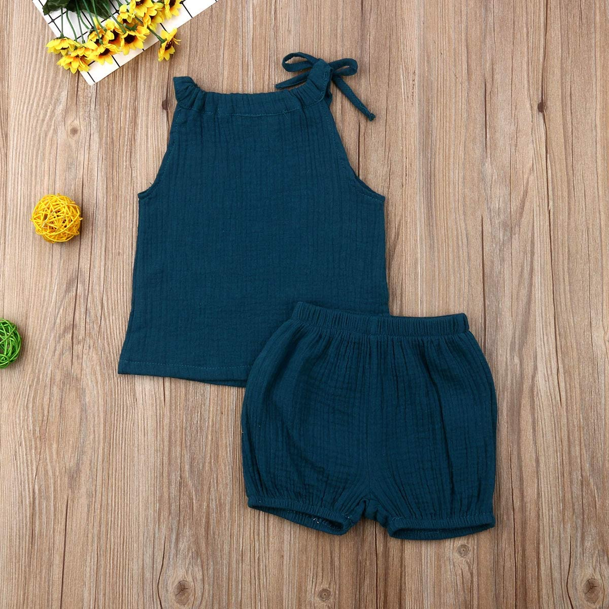 Dookingup Toddler Baby Girls Short Sets Sleeveless Tank Top Drawstring Short Pants Summer Outfit